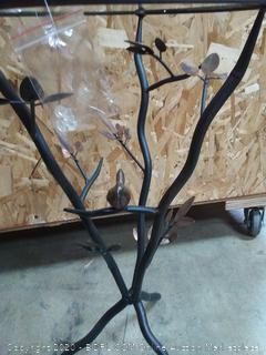 """FirsTime & Co. Aged Bronze Bird and Branches Tripod Side Glass Tabletop Accent Table, 24"""" H x 14"""" W x 14"""" D (on floor)"""