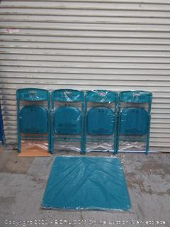 Cosco 5-Piece Folding Table and Chair Set, Teal (online $90)