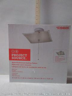 Project Source 11.81-in W White Frosted Glass Semi-Flush Mount