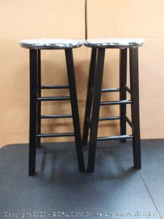 Winsome 29-Inch Square Leg Bar Stool, Black, Set of 2 (on floor)