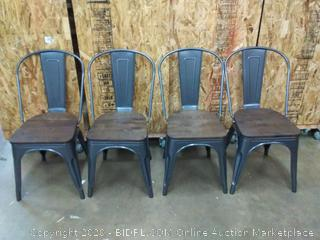 metal dining chairs dark gray with dark wood 4 count (on floor)