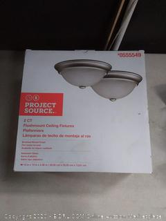 Project Source 2-Pack 13-in W Satin Nickel Standard Ceiling Flush missing last