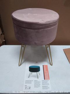 Ornavo home modern round velvet ottoman with metal legs (on floor)
