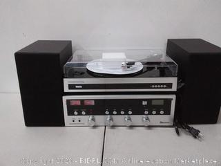 Innovative technology vintage stereo system with Bluetooth CD player turntable and FM radio(powers on)