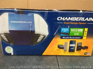 Chamberlain Group B550 Smartphone-Controlled Ultra-Quiet & Strong Belt Drive Garage Door Opener with MED Lifting Power, Blue(untested)(cubby 2)