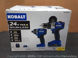Kobalt 24V MAX Brushless 2 Tool Combo Kit (powers on)(1 drill used)(Retails $179)(cubby 2)
