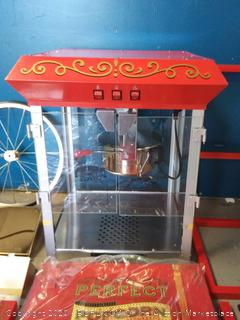 Great Northern Popcorn 5995 10 oz. Perfect Popper Popcorn Machine with Cart - Red (online $329) (missing glass on one side)