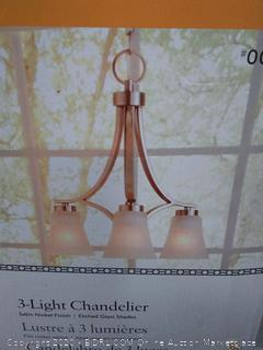 Portfolio Lyndsay 3-Light Brushed Nickel Chandelier missing two glass shades