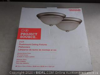 Project Source 2-Pack 13-in W Satin Nickel Standard Ceiling Flush (Missing Glass Dome)