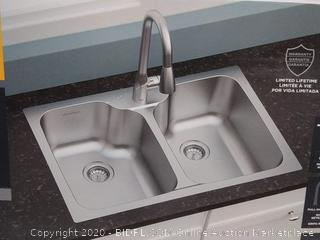 American Standard Tulsa 33-in x 22-in Double-Basin Stainless Steel (Missing Faucet) Online $260
