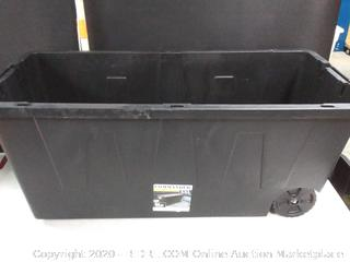 COMMANDER 64-Gallon (256-Quart) Black Tote with Latching Lid (Missing Lid)
