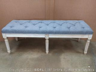 gray bench with rustic wood legs (on floor)