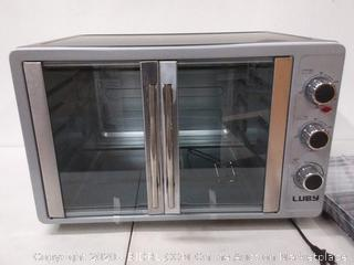 Luby Extra Large Toaster Oven (holds 18 slices Pizza, 20lb turkey )silver stainless steel(small dent on back)(powers on)(Retails $114)