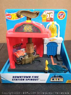 Hot Wheels Downtown Fire Station Spinout Vehicle Playset 2018