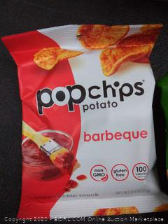 Popchips Potato Chips, Variety Pack, Single Serve 0.8 Ounce (Pack of 24) Bags), 4 Flavors: 8 Sea Salt, 8 BBQ, 4 Sour Cream & Onion, 4 Salt & Vinegar