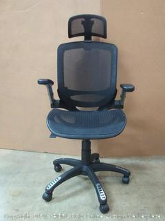 Gabrylly Ergonomic Mesh Office Chair, High Back Desk Chair - Adjustable Headrest with Flip-Up Arms, Tilt Function, Lumbar Support and PU Wheels, Swivel Computer Task Chair (Retail $269)