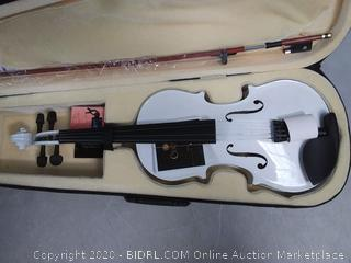 Mendini Full Size 4/4 MV-White Solid Wood Violin with Tuner, Lesson Book, Shoulder Rest, Extra Strings, Bow and Case (online $100)