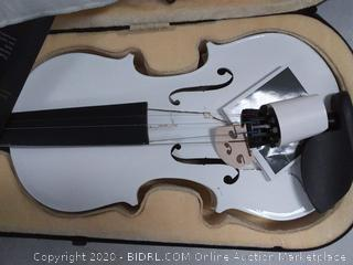 Mendini Full Size 4/4 MV-White Solid Wood Violin with Tuner, Lesson Book, Shoulder Rest, Extra Strings, Bow and Case  (cracked, see photos)