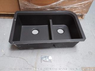 Transolid RUDJ3118-09 Radius 31.75-in x 19.25-in x 9.5-in Granite 1-3/4 J-Shaped Double Undermount Kitchen Sink, Black (online $219)