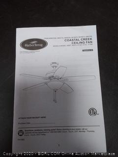 Harbor Breeze Coastal Creek brushed nickel finish ceiling fan 52 in(needs new light cover)