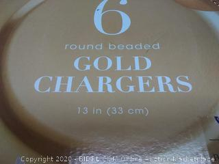 set of 6 round beaded gold Chargers 13 in