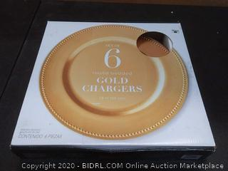 set of 6 round beaded gold Chargers 13 inch
