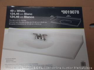49 inch white bathroom countertop