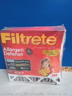 Filtrete MPR 1000 DP 20x20x4 (4-3/8-Inch Depth) AC Furnace Air Filter, Micro Allergen Defense Deep Pleat, 2-Pack (online $50)