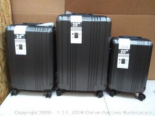 Coolife luggage set hardside spinner case 20 and 24 in + 28 in silver gray(Retails $149)