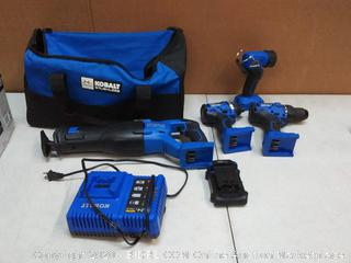 Kobalt 4-Tool 24-Volt Max Brushless Power Tool Combo Kit with Soft Case (Charger Included and 1-Battery Included)(powers on)(Retails $299)