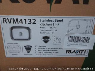 Ruvati Stainless steel kitchen sink 23.375 inch width front to back 17.75 inch bowl depth 9 in