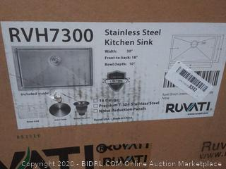 ruvati stainless steel kitchen sink 30 in with 18 inch front to back 10 inch Bowl dip