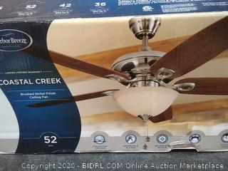 Harbor Breeze Coastal Creek 52-in Brushed Nickel LED Indoor ceiling fan(needs light cover)