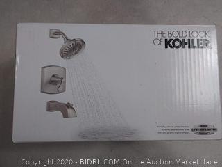 KOHLER Ridgeport Brushed Nickel 1-handle Bathtub and Shower Faucet with Valve (online $179)