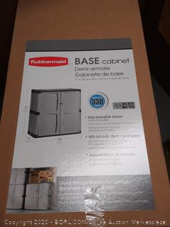 "Rubbermaid Double-Door Storage Cabinet, 18"" D x 36"" W x 37"" H, Gray/Black,"