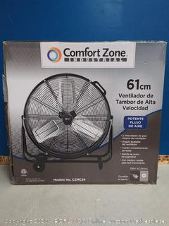 "Comfort Zone CZMC24 HBCLCZMC24 Industrial Drum Fan, 24"" Barrel-Direct Drive, Black (online $124)"