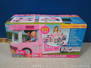 Barbie 3-in-1 DreamCamper Vehicle, approx. 3-ft, Transforming Camper with Pool, Truck, Boat and 50 Accessories - piece cracked (online $79)