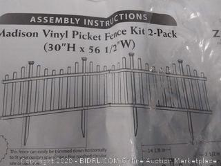 2 Pack New Madison No-Dig Vinyl Garden Picket Fence Kit