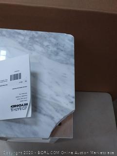 Beyond Value Carrara Marble Top Floor Cabinet (cracked wood in shelve,top has broken corner)