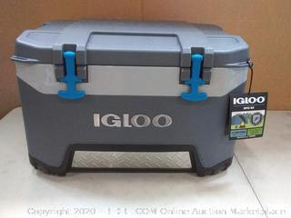 Igloo BMX 52 Quart Cooler with Cool Riser Technology, Fish Ruler, and Tie-Down Points - 16.34 Pounds - Carbonite Gray and Blue(small plastic cover damaged at bottom)