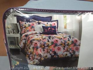 Lush decor floral watercolor blue 7-piece comforter set