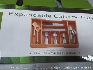 bamboo expandable cutlery tray