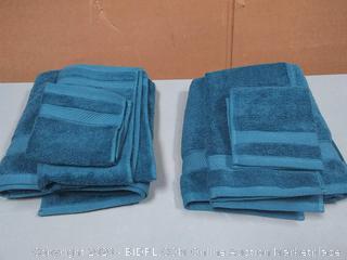 bathroom towels two sets blue