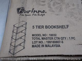 FURINNO Turn-N-Tube 5-Tier Multipurpose Shelf Display Rack (2 shelves have broken corners)