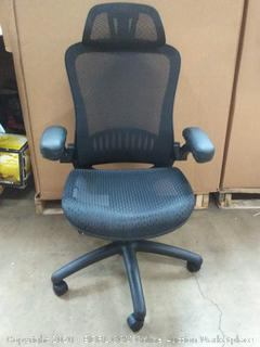- Adjustable High-Back Mesh Chair with Flip-Up Arms and Head Rest - Black, BIFMA Certified