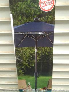 destination summer never rust aluminum 9ft round navy umbrella  with crank solar (online $119)