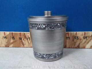 India Ink Omni Cotton Ball Holder with lid in Pewter (online $19)