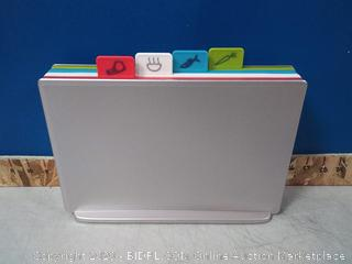 Joseph Joseph Index Cutting Board Set with Storage Case Plastic Color Coded Dishwasher-Safe(online $79)