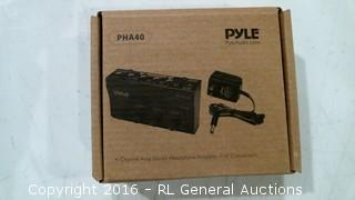 """Pyle PHA40 4 Channel Amp Stereo Headphone Amplifier 1/4"""" Connectors"""