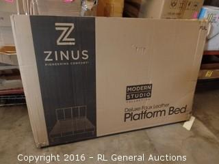 Zinus  Deluxe Faux Leathe Platform Bed Damaged Package New in Box